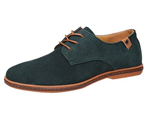Brinny Mode Classique Bottes Chaussures de Ville Homme Cuir Suede Oxfords Confortable Décontracté Plate Shoes Sneakers Chaussures 11 Taille: 38-48 Vert