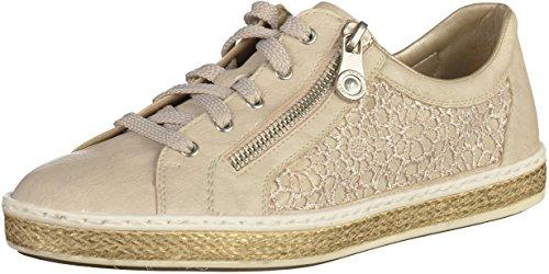 Rieker M8504, Sneakers Basses Femme Blanc (Offwhite/beige-lightgold / 80)