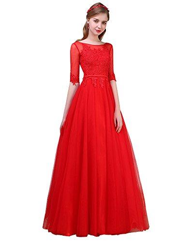 Erosebridal Halbe Hülse Abendkleid Ballkleid Brautjungfernkleid Rot DE44