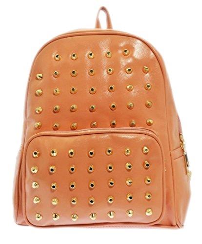 Borse Girly New Zaino In Ecopelle Zaino Scuola Oro Penny Punk Fashion Per Donna Rosa