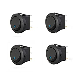 ASTrade 4 pcs led Rocker Indicator Switch 3 Pin On-Off 12V Dc New Durable High Quality Mini Round