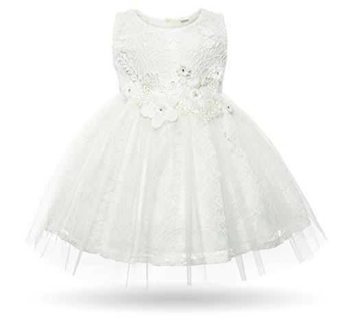CIELARKO Baby Mädchen Kleid Kleinkind Blumen Spitze Taufkleid Festlich Hochzeits Kleidung, Weiß, 4-6 Monate (Kleinkind-kleid-kleider)