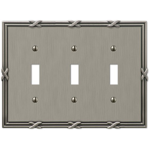 Amerelle 44tttan Ribbon und Reed 3 Toggle Wanddose, antik nickel Blank Wall Plate Cover
