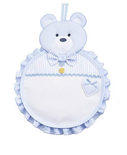 Filet fiocco nascita orsetto con inserto in tela aida da ricamare, azzurro