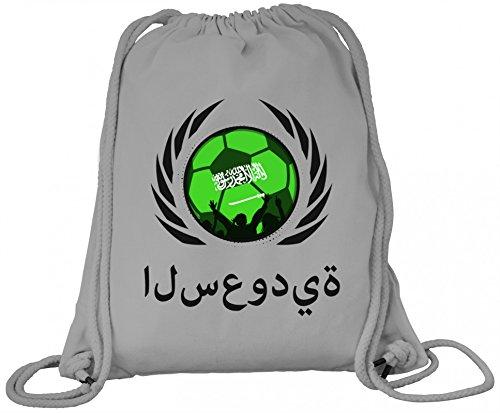 Saudi Arabia Fanfest Fussball WM Bio Baumwoll Turnbeutel Rucksack Gym Bag Fußball Saudi-Arabien Heather Grey