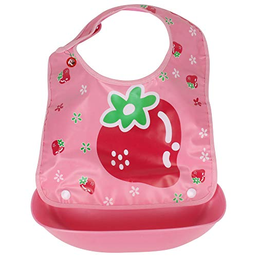 GURU KRIPA Baby Products ® Presents Waterproof Silicone Roll up Washable Crumb Catcher Baby Feeding Eating Bibs with Food Catching Pocket (Pink)
