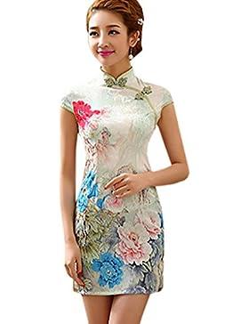 b4c4de4186ae YueLian Cheongsam Corto Vestito da Donna Mini Peonia Verde