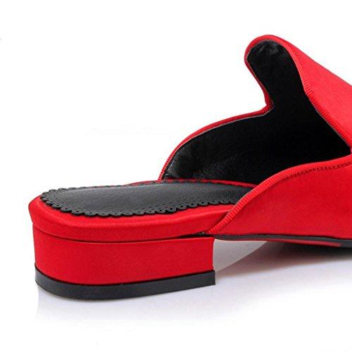 W&LM Delle donne Pistoni freddi Retro Seta Ricamo Sottolineato Tacco basso Scarpe Baotou fondo piatto Pantofole femminili Red