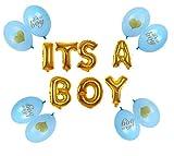 Yalulu It's A Boy/Girl Taufe Folienballon Dekoration + 8 Stück Latex-Ballon Luftballons für Luft als Geschenk zur Geburt Eines Mädchen/Jungen, Baby-Shower-Party Deko Oder Überraschung (Junge -Gold)
