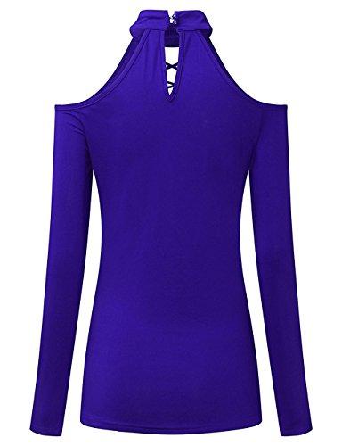 Fortuning's JDS Maniche lunghe Fuori-spalla Pizzo Choker Neck Tops Camicia Camicetta per donne Blu