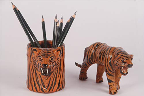 Tigre de cuero hecho a mano - Negro y amarillo con el...