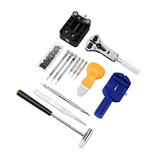 NICERIO 14 Stücke Chrom Vanadium Stahl Uhr Repair Tool Kit Strap Link Pin Entfernung Einstellung Tool Kit Tragbare Täglichen Gebrauch Uhr Werkzeuge Pack Anzug