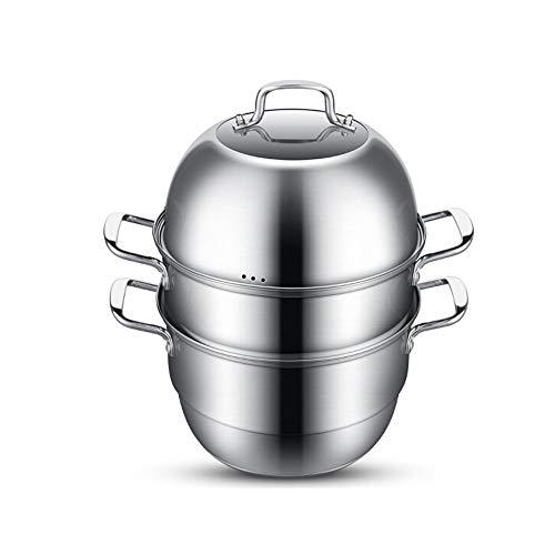Wuhuizhenjingxiaobu Cuiseur à vapeur, acier inoxydable 304 Trois couches de 32cm d'épaisseur inférieure multicouche avec tiroir à vapeur cuisant deux avec pot à soupe, Cuiseur à vapeur 32CM, haute qua