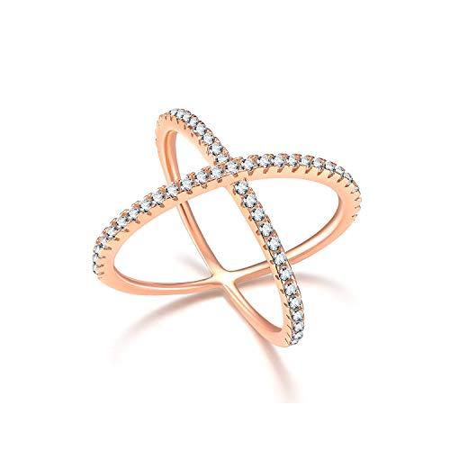 Titaniumcentral 925 Sterling Silber X-Ringe Criss Cross Rose Gold Verlobungsringe Trauringe