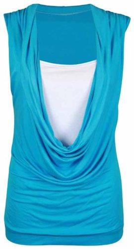 Frauen mit Wasserfallausschnitt einfügen Weste Ärmellose Shirts 44-54 Turquoise