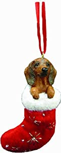 Red Dachshund Stocking Christmas Ornament from E&S Imports