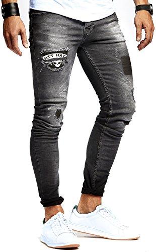 LEIF NELSON Herren Jeans Hose Jeanshose Stretch Schwarz Freizeithose Denim Slim Fit LN9940SC; W32L32, Blau