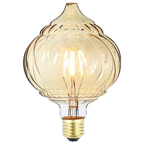 tianfan LED Filament Glühbirne Twist Konus Kürbis LICHT GLAS 4W E27Deko Glühbirne, bernsteinfarben, E27 4.00 wattsW 230.00 voltsV