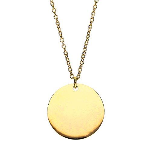 URBANHELDEN - Damen-Kette mit rundem Anhänger - Hals Kette Amulett aus Edelstahl - Small Gold Gold Hals