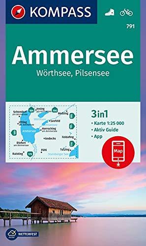 Ammersee / Wörthsee / Pilsensee + Aktiv Guide di KOMPASS-Karten