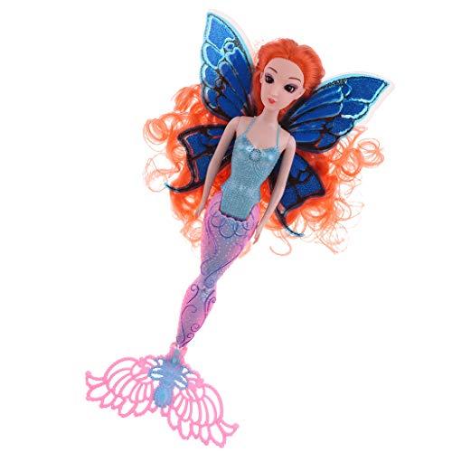FLAMEER Kinderspielzeug Prinzessin Meerjungfrau Puppe mit glitzerndem Schwanz Für Kinder und Kleinkind ( Höhe: 40 cm ) - Orange -