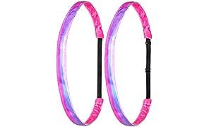 Ivybands® Mom's & Kids Edition   2-er Pack   Pink Waterflow Edition   Pink Rosa Blau Lila   Anti-Rutsch Haarband für Mutter/Mütter & Kinder/Kind   Kinderhaarband IAMKID018