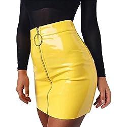 Falda Corta para Mujer de Piel. Falda Sexy y atrevida de Temporada. (Amarilla) - M