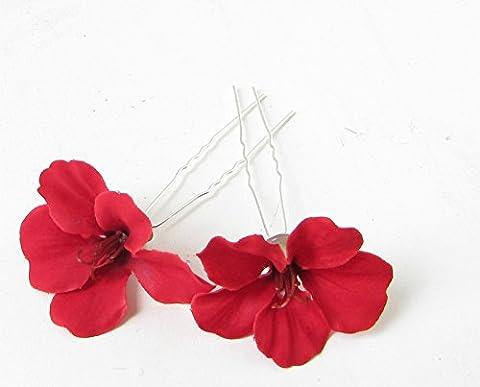 2x Rouge hibiscus fleur mariée épingles à cheveux clips Plage tropicale Hawaii 193* * * * * * * * exclusivement vendu par–Beauté * * * * * * * *
