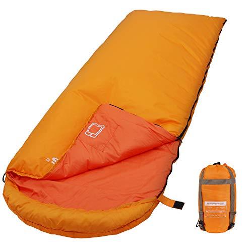 Songmics sacco a pelo con cappuccio per temp da -7 a 15°c, leggero e portatile con sacca di compressione, 3 stagioni, per campeggio escursione, attività all'aperto, arancione gsb02go