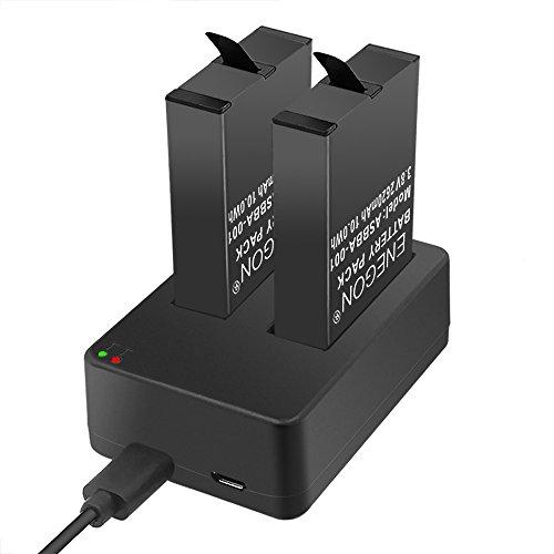 Batteries ENEGON (Pack de 2) pour Gopro Fusion & Dual Chargeur avec Micro USB et Entrées Type-C pour Gopro Fusion 360 degrés Sport caméra ASBBA-001 Batterie (100% Compatible avec Original)