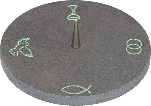 Butzon & Bercker 2-154189 Schieferleuchter mit Symbolen zu Taufe, Hochzeit, Kommunion, Firmung - Messing-2 Kerzen