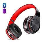 Auriculares inalámbricos Bluetooth, Headphones Plegables con Micrófono, Deportivos Estéreo HiFi Bajos Profundos Compatible con Smartphones, Tabletas, Computadoras, TV / PC de MeihuaTu-Negro Rojo