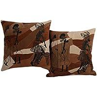 Set splendida 2 Cuscino casi cuoio della copertura di 16x16 Brown cuscini tribale Rajrang
