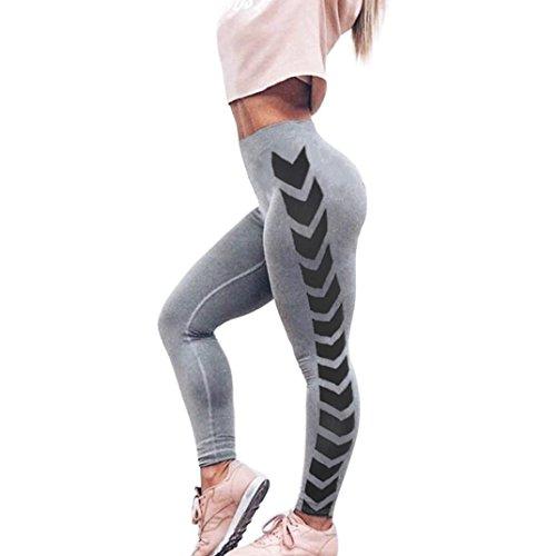 Damen Yogahosen Solid Mumuj Fashion Grau Pfeil Schwarz Streifen Print Yoga Skinny Workout Gym Leggings Fitness Sport Kurz Geschnittene Hosen Running Shapers Körperformung Hosen (Grau, M) (Pfeil Shorts Baumwolle)