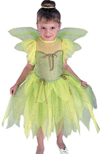 erdbeerloft - Mädchen Kostüm Fee mit Kleid und Flügeln , 122/128, Grün
