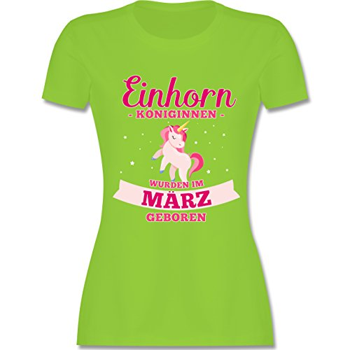 Shirtracer Geburtstag - Einhorn Königinnen Wurden IM März Geboren - Damen T-Shirt Rundhals Hellgrün
