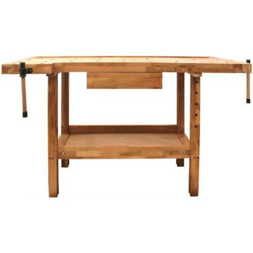 DJM Direct Holz-Tisch Werkbank für Tischler / Schreiner, Qualität Eichen-Holz, für Holzbearbeitung, mit Schraubstöcken