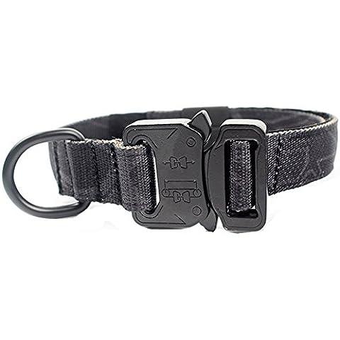Yisibo Collare per cani tattico militare di addestramento regolabile Harness Molle Nylon collare di cane al guinzaglio con manico in acciaio con fibbia Kryptek Typhon(1,0
