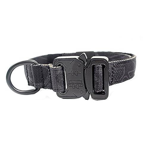 Collier de chien Yisibo Tactical militaire AjustableHarnais de dressage Molle Collier de chien en nylon avec poignée Boucle en acier 1.0''