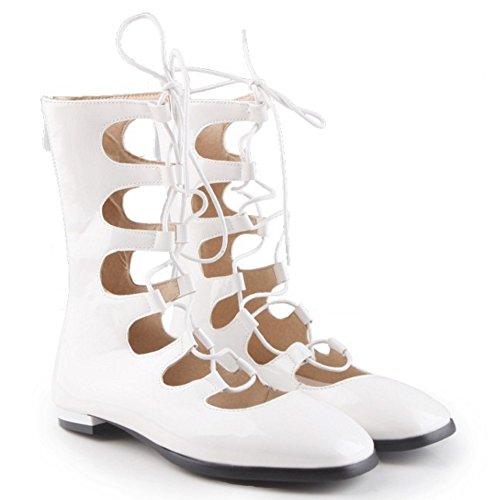 COOLCEPT Femmes Mode Lacets Escarpins Bout Ferme Appartements Ete Boots Creux Chaussures With Fermeture eclair Blanc
