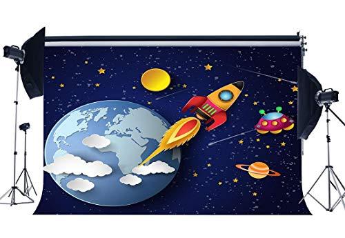 stag Kulisse 10X8FT Vinyl Planet Rocket Cartoon Kulissen Twinkle Twinkle Little Star Dessert Tisch Tapete Fotografie Hintergrund Junge Zimmer Papier Foto Studio Requisiten YX888 ()