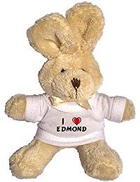 Conejito de peluche (llavero) con Amo Edmond en la camiseta (nombre de pila/apellido/apodo)