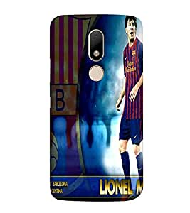 Football, Blue, Football player in action, Lovely Pattern, Printed Designer Back Case Cover for Motorola Moto M
