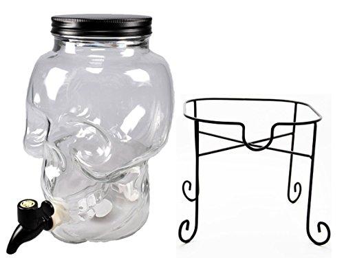 Bada Bing Getränkespender Totenkopf Mit Deckel und Ständer 3 Liter schwarz Skull (Flasche 3 Getränkespender)