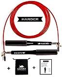 Harder Co.© Corda per Saltare Crossfit - Double Unders velocità - Professionale - Regolabile - Jump Rope - Boxe - MMA - Cuscinetti a Sfera - Resistenti