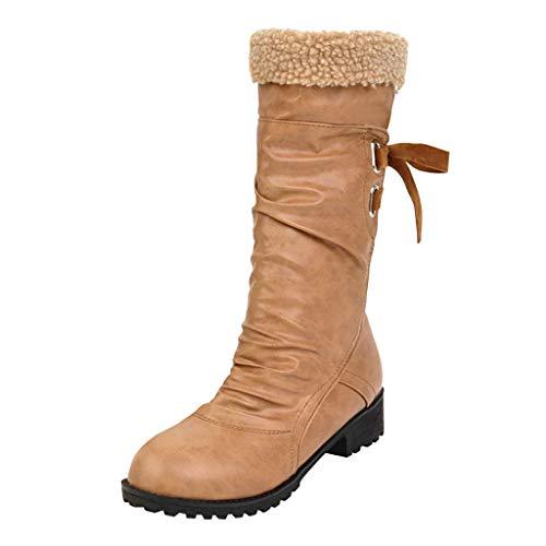 Myfilma Mode Plissee Pure Farbe Round Toe Schnürstiefel Chunky Heels Vintage Damen Stiefel Hinterer Riemen weicher kurzer Plüsch mit Mittelstiefeln Outdoor