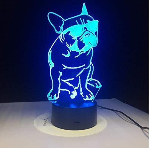 Französische Bulldogge Mit Sonnenbrille 3D Led Nachtlicht Frenchie Dog Dekorative Beleuchtung Farbwechsel Acryl Lampe Geschenk Für Hundeliebhaber