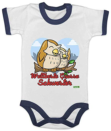 HARIZ Baby Body Ringer Weltbeste Grosse Schwester Eulen Herz Ast Baby Kinder Inkl. Geschenk Karte Weiß/Navy Blau 12-18 Monate -