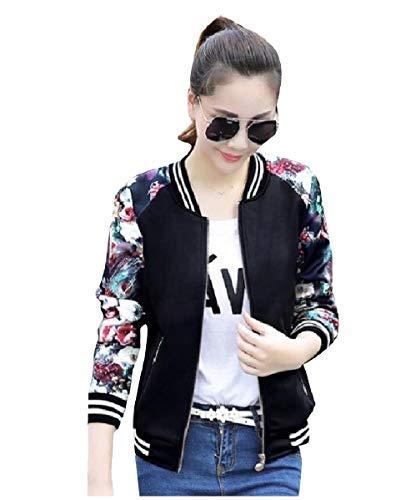 CuteRose Womens Slim Fitted Fashion Stitch Zipper Outwear Short Jackets Black S