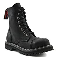 Angry Itch - 8-Hole Gothic Punk Vintage Black Leather Army Ranger Boots with steeltoe - UK Sizes 3-13 - Made in EU!, EU-Größe:EU-46